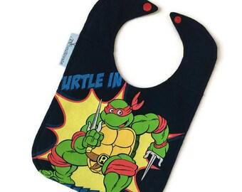Ninja Turtles Baby Bib • Raphael Baby Bib • Baby Shower Gift • 90s baby • TMNT Baby Gift