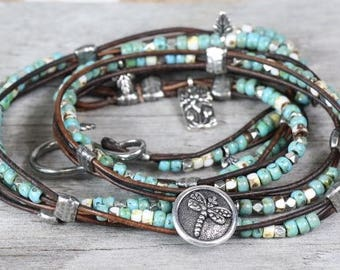 dragonfly bracelet, dragonfly jewelry, charm bracelet for mom, lotus bracelet, wrap bracelet beaded, beaded bracelet