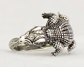 ZIPAKTLI - CAIMAN - CROCODILE Ring Adjustable sterling silver