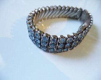 Vintage Medium Blue Rhinestone Expansion Bracelet