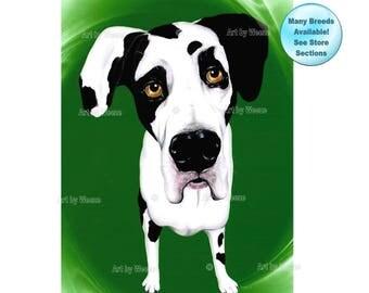 Great Dane - Great Dane Art - Harlequin Great Dane - Great Danes - Pet Portrait - Great Dane Print - Dog Breeds - Dog Portraits - Weeze Mace