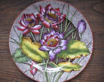 "ANTIQUE WEDGWOOD Water-Lilly 10 1/4"" Plate Etruria England Nice For Wall Display Beautiful Design Transferware"