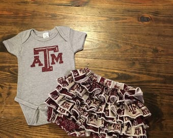 Aggies ruffled bloomers outfit