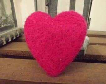 Dark Pink/Cerise Needle Felted Heart, Valentine, Love Heart, Love Token