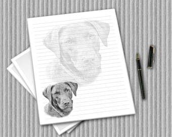 Chocolate Labrador stationery, Digital writing paper, printable dog notepaper, printable journal pages, digital paper, Choc Lab printables