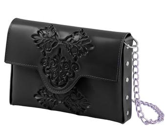 Fab handbag / small black clutch purse / urban bag design / original standout design / fresh black vinyl / both clutch & shoulder bag