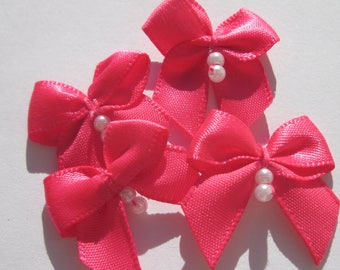 4 fabric bow Satin with beads 23-24 mm approximately (A154)