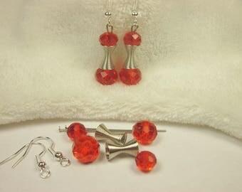 Kit earrings glass and metal (kit3) 2.8 cm