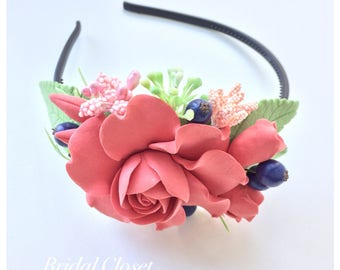 Headband With Coral Flowers And Berries, Flower Girl Headband, Hairpiece With Coral Flowers, Wedding Headband, Wedding Accessories