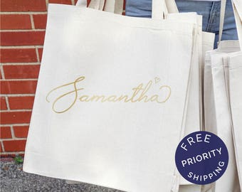Tote Bag with Names, Personalized Tote Bag Bridesmaid, Bridesmaid Gifts, Bridesmaid Tote Bag, Personalized Wedding Bag, Bridal Party Gift