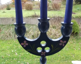 Wood candelabra. Wood blue candelabra. Wood candle holder. Wooden Candelabra. Candles Holder. 3 Candle candelabra. Swedish Vintage 1950s