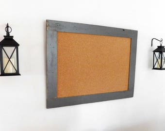 Extra Large Framed Bulletin Board / Cork Board Distressed Vintage Look Wood Shown in Graphite 30 x 40 *MORE COLORS AVAILABLE*