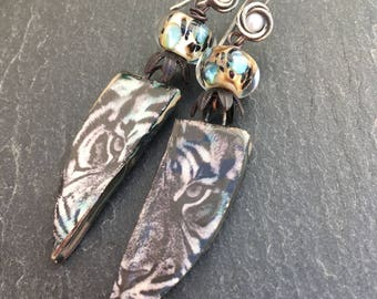 Fierce, White Tiger Earrings, Pearl Earrings, Tiger Earrings, Jungle Style, Animal Print, Artisan Ceramic Tiles, Tribal, Boho, Gypsy Earring