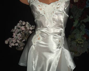 Vintage Satin Bridal White Venetian lace Chiffon Oily Shiny Nighty Nightgown Sequins Gown Frilly Lingerie Babydoll XS 34""