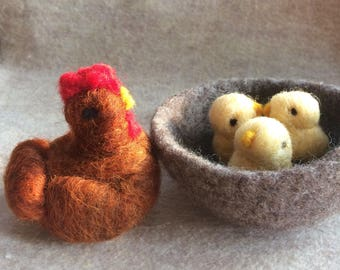 Needle felted hen and chicks in nest Waldorf inspired baby chicks made of hudson valley wool miniature birds farm animals