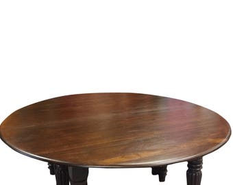 Indian Parliament House Burmese teak Table Solid Wood Hand Carved Round Table Furniture 19c Shabby Chic
