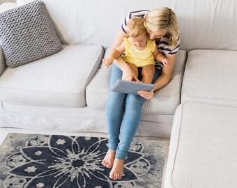 Area Floor Rug - Mandala Print Navy and Grey - Mandala Floor Rug - 3 Sizes:  2' x 3', 3' x 5', 4' x 6'