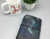 Handpainted Galaxy (1) - Pocket - Leather Traveler's Notebook/Fauxdori
