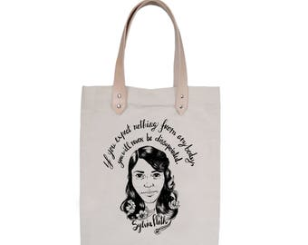 Tote Bag With leather straps - Screenprint Over Cotton Canvas Tote Bag Sylvia Plath