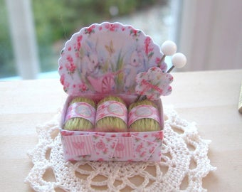 dollhouse sewing shop wool box display shabby bunny  wool 12th scale miniature for sewing knitting shop