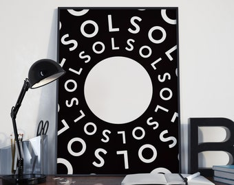 SOL (Modern Wall Art, Typographic Print, Modern Art Print)