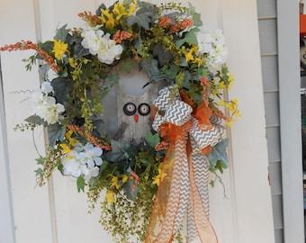 owl wreath , grapevine outdoor garden burlap wood owl hydrangea, orange yellow door wreath, indoor wreath silk flowers vines  home decore