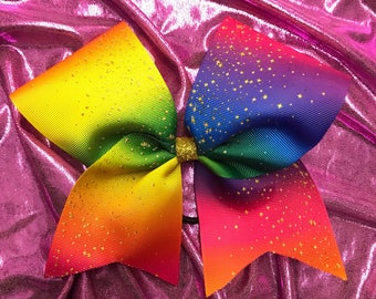 Rainbow Ombre Glitter Gold Grosgrain Cheer  Bow