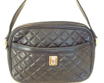20% SUMMER SALE Vintage JUDITH Leiber black quilted leather shoulder bag