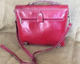 20% SUMMER SALE Vintage genuine red leather backpack and messenger bag