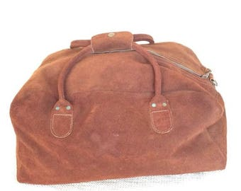 10% OFF SALE Vintage brown suede duffle bag carry on travel bag