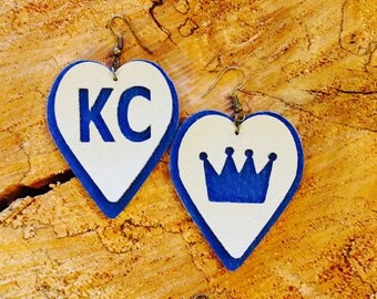 KC/Royals leather earrings.