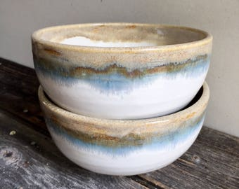 Noodle bowls pho bowls set of two handmade wheel thrown white, green, blue tan, with foot dinnerware, serving plates, bowl set