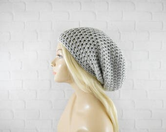 Light Grey Beanie, Crochet Beanie Hat, Baggy Hat, Slouch Beanie, Vegan Hat, Skater Beanie, Crochet Cap, Womens Beanie Hat, Extra Slouchy Hat
