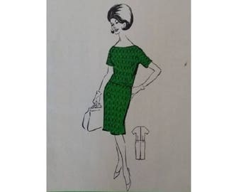 "Vintage 60's Classic Mad Men Jackie O Short Sleeve Dress Pattern Size UK 14 Bust 36"""