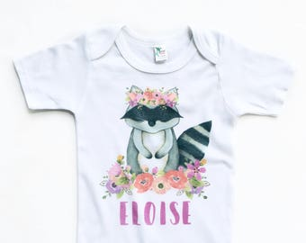 Personalized Baby Gift, Boho Baby Clothes, Baby Shower Gift, woodland animals nursery, woodland animals theme, newborn girl take home outfit