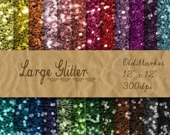 SALE- Large Glitter Digital Paper - Glitter Textures - Glitter Backgrounds -  24 Colors - 12in x 12in - Commercial Use -  INSTANT DOWNLOAD