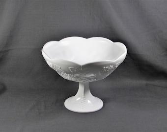 Colony Harvest Grape Milk Glass Pedestal Fruit Bowl Centerpiece Indiana Glass