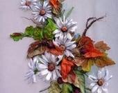 """Ribbon embroidered picture """"Autumn 2"""",  Silk ribbon embroidery, ribbon work, ribbon embroidery, 3D picture, unique gift, autumn landscape"""