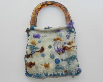 Ivory and Turquoise Hand Knit Felted Purse - Buttons and Curls