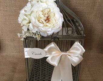 Pick Your Colors Elegant Wedding Bird Cage Card Holder, Money Holder, Wedding Wishes Holder, Wedding Birdcage, Cash Box, Party Card Box