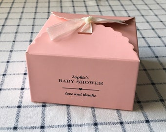 25x Baby Shower Pink Favour Boxes • Personalised Baby Girl Christening Gift Boxes • Can be Girl's 1st Birthday Gift Boxes • Custom Any Text