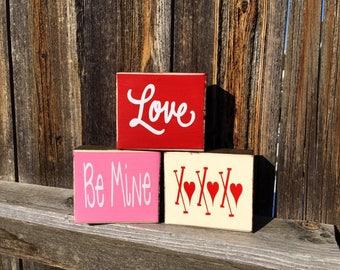 Valentine's day wood blocks-Love, Be Mine, XoXoXo
