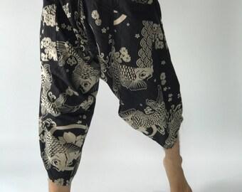 HC0074 Samurai Pants Men's Fahion Harem Pants Yoga Pants Casual Cotton Bottoms
