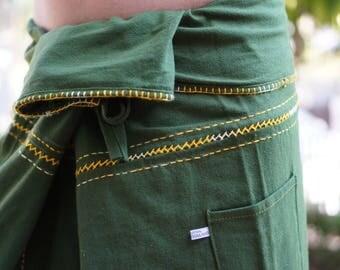 FZ00 Hand stitch Unisex Thai fisherman pants, stitch Inseam design for Thai Fisherman Pants Wide Leg pants, Wrap pants