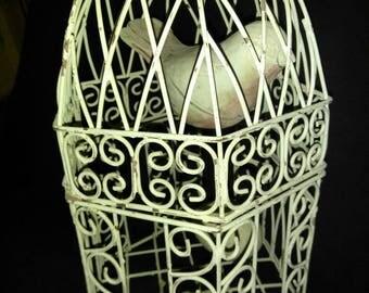 Vintage white metal decorative birdcage large bird and egg