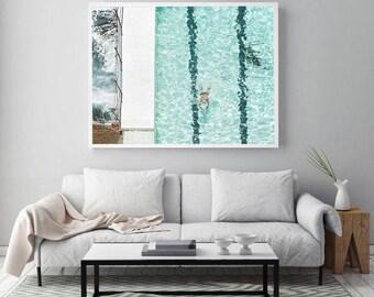 large Beach print, Bondi Beach, Beach photography, turquoise water, ocean photography, nautical print, aerial photo, lone swimmer