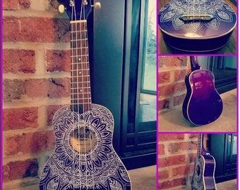 Hand Painted Ukulele, Mandala Ukulele, Decorated Soprano Ukulele, ukulele instrument, ukelele, ukalele