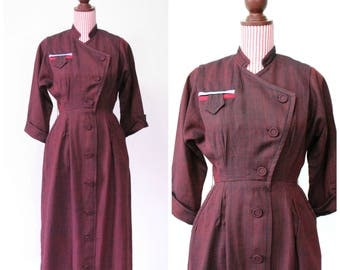 1940s VINTAGE Dress / Red / 40s Dress / Oxblood / Fitted  / Pockets / RARE