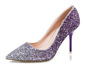 Glitter Mid Heel Ombre Stiletto Luxury sparkle Red , purple gold Multi xmas Party Pump pointed court heel