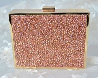Swarovski ELEMENTS Rose Gold Crystal Minaudiere Bridesmaid gift Metal case rectangle box clutch Purse bag